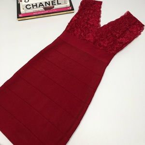 Red lace top bodycom dress  by Bebe